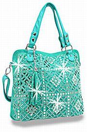Turquoise Rhinestone Crochet Look Handbag       # HE-BHD-6125-TQ