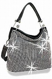 Black Rhinestone Design Handbag     HE-BHD-6152-BK