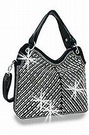 Black Rhinestone Design Handbag        HE-BHD-6157-BK