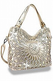 Gold Rhinestone Large Flower Handbag       HE-BLJ-118-GD
