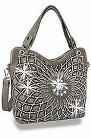 Pewter Rhinestone Large Flower Handbag       HE-BLJ-118-PT