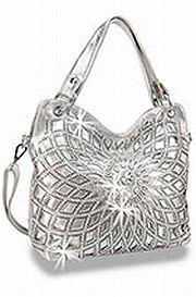 Silver Rhinestone Large Flower Handbag       HE-BLJ-118-S