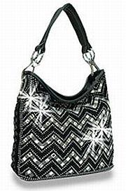 Black Thin Chevron Rhinestone Handbag       HE-BMY-0135-BK