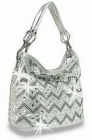 Silver Thin Chevron Rhinestone Handbag      #HE-BMY-0135-S