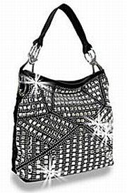 Black Rhinestone Pattern Handbag         #HE-BMY-1013-BK