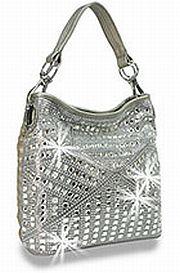 Pewter Rhinestone Pattern Handbag         #HE-BMY-1013-PW