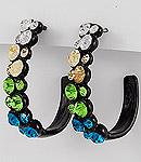 Blue Green Rhinestone Earrings