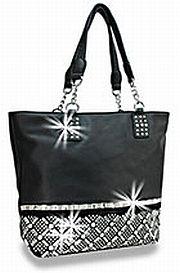 Black Rhinestone Criss Cross Handbag          #HE-BWG-1208-BK