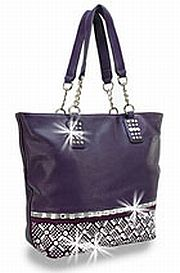 Purple Rhinestone Criss Cross Handbag          #HE-BWG-1208-PP