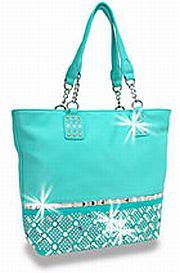 Turquoise Rhinestone Criss Cross Handbag          #HE-BWG-1208-TQ