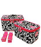 2 Black & Fuchsia Damask Cases