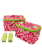 2 Fuchsia & Green Damask Cases