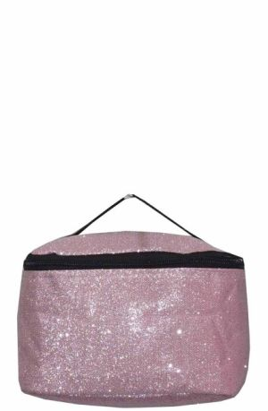 Glitter Glam Light Pink Cosmetic Bag    #LU-LGHTPNK