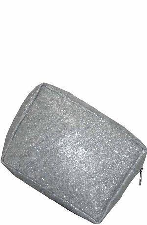 Silver Bling Glitter Cosmetic Bag    #LU-SILVERGLE