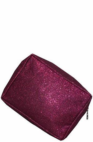 Hot Pink Glitter Cosmetic Bag    #LU-HOTPNKGLE