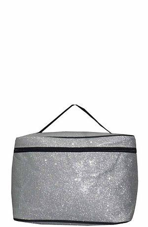 Glitter Glam Silver Cosmetic Bag  #LU-SILVERG