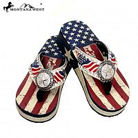 Montana West Flag Stripes Star Concho Flip Flops         #EBC-US02-S089