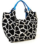 Large Blue Giraffe Print Bag