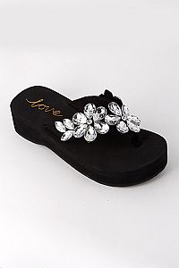 Rhinestone Crystal Bling Double Flower Wedding Flip Flops                   #FB-Black2