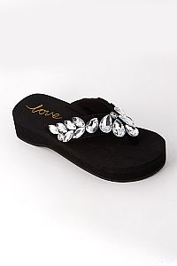 Rhinestone Diamond Petal Wedding Flip Flops                     #HDW-black4