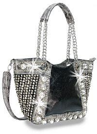 Black & Silver Rhinestone Handbag                       #HE-BAH-1103-BK