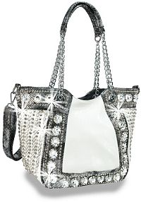 White Rhinestone Jeweled Handbag                           #HE-BAH-1103-BW
