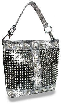 Black Snake Skin Rhinestone Jeweled Handbag                        #HE-BAH-1108-BK