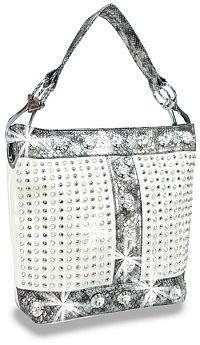 White Snake Skin Rhinestone Jeweled Handbag        #HE-BAH-1108-BW