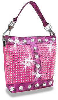 Hot Pink Snake Skin Rhinestone Jeweled Handbag          #HE-BAH-1108-FS