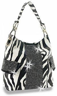 Black & White Rhinestone Zebra Handbag       #HE-BAH-1646-ZB