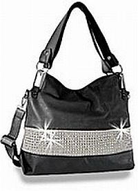 Black Silver Rhinestone Handbag                   #HE-BLJ-0986-BK