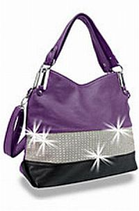 Black & Purple Rhinestone Handbag                #HE-BLJ-0986-PP