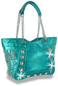 Turquoise Rhinestone Jeweled Handbag     # HE-BLJ-106-TQ