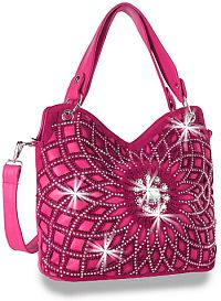 Hot Pink Rhinestone Flower Handbag       #HE-BLJ-118-FU
