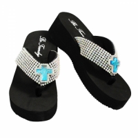 Rhinestone Blue Cross Flip Flops