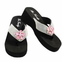 Rhinestone Pink Flower Flip Flops                    #HW-FF102SS-PINK-ABM