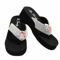 Rhinestone Pink Cross Flip Flops                #HW-FF102SSC2-PINK-ABM