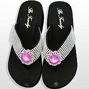 Rhinestone Pink Flower Flip Flops                 #HW-FF102SSNJHP