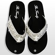 Bone White Cross Flip Flops                #HW-FF103C2RS-WT