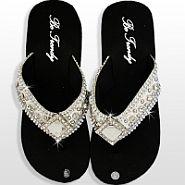 Bone White Diamond Flip Flops                  #HW-FF103DLRS-WT