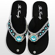 Black Blue Flower Flip Flops              #HW-FF103NJ-ABM
