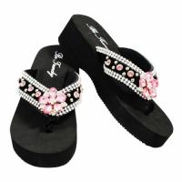 Rhinestone Black Pink Flower Flip Flops                #HW-FF103S-PINK-ABM