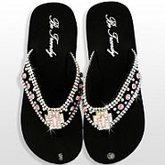 Black Light Pink Cross Flip Flops                  #HW-FF103SC1-HPABM