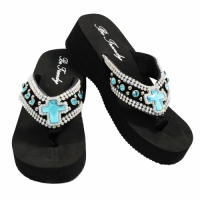 Rhinestone Black Blue Cross Flip Flops