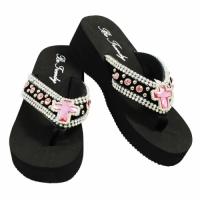 Rhinestone Black Pink Cross Flip Flops                        #HW-FF103SC2-PINK-ABM