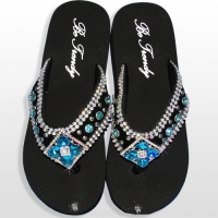 Blue Diamond Flower Flip Flops               #HW-FF103SD2-BLABM