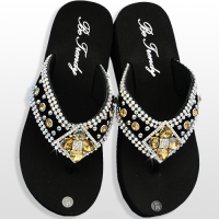 Brown Diamond Flower Flip Flops             #HW-FF103SD2-BROABM