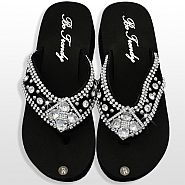Black Diamond Flower Flip Flops                #HW-FF103SD2