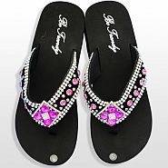 Black Pink Diamond Flower Flip Flops                    #HW-FF103SD2HP