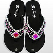 Black Pink Diamond Flip Flops               #HW-FF103SDHP
